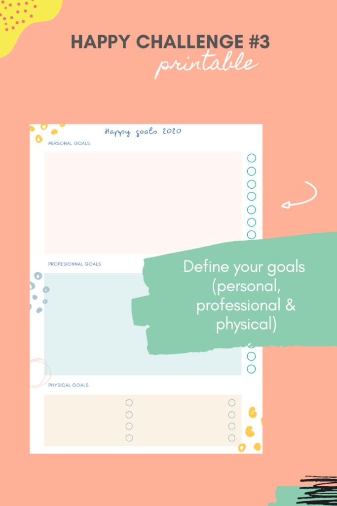 Happy challenge #3: define your goals (free printable)